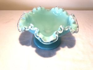 Vintage Fenton Glass Turquoise Ruffle Edge Bowl for Sale in Monterey Park, CA