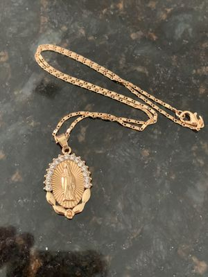 14k gold 18in necklace and Mary charm for Sale in Tampa, FL