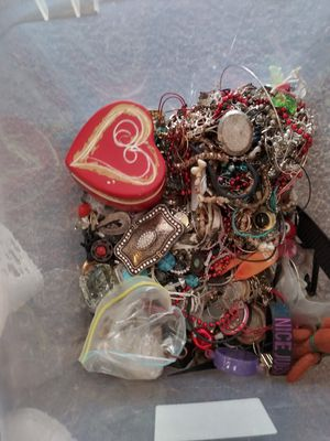 A medium sized jewelry box with lots of different jewelry beads spacers charms Etc for Sale in Portland, OR