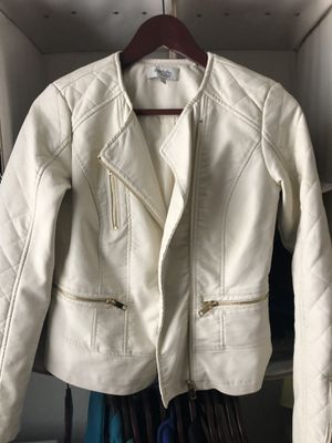 Off white leather jacket Charlotte Russe s-xs for Sale in Garland, TX