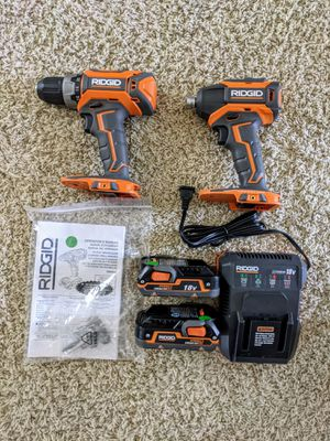 "RIDGID 18v Brushless 1/2"" Drill/Driver and 1/4"" Impact Kit for Sale in Dutton, MI"