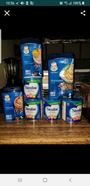 Leche de fórmula 4 latas para bebé un cereal para bebé grande y dos cereales de bebés chiquitos for Sale in Phoenix, AZ