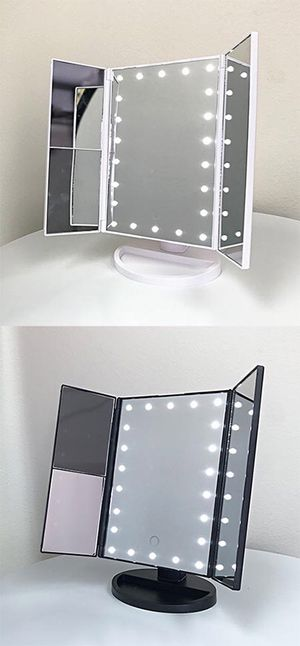 "(New in box) $20 each Tri-fold LED Vanity Makeup 13.5""x9.5"" Beauty Mirror Touch Screen Light up Magnifying for Sale in Whittier, CA"