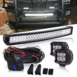 (Excluding pea lights) DOT 32 Inch 180W Curved Led Light Bar Driving Lights W/ Rocker Switch Wiring Harness For Offroad Boat SUV ATV Golf Cart UTV for Sale in Ontario,  CA