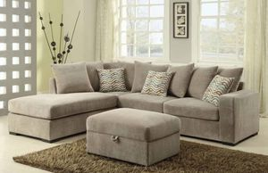 JUST $50 DOWN Olson beige sectional sofa and ottoman for Sale in Miami, FL