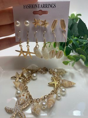 Fashion Bohemian Conch Shell Drop Earrings Set (6 Pairs) and Bracelet for Sale in Irvine, CA