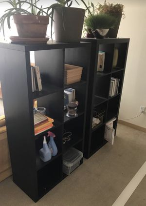 2- 8 Cube Black/Brown Bookshelves Room Dividers for Sale in Seattle, WA