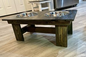 **LOOK**Custom made wood raised dog food and water stand. for Sale in Nampa, ID