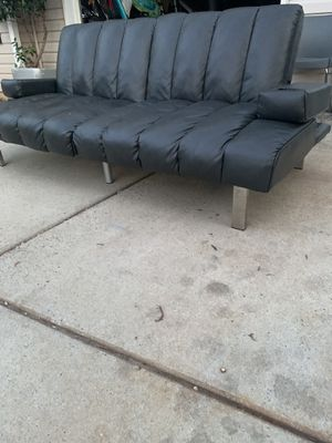 Charcoal grey futon leather for Sale in Fort Mill, SC