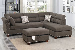 COFFEE SECTIONAL SOFA WITH ACCENT STUDDING AND OTTOMAN for Sale in Yucaipa, CA