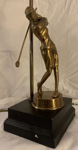 The Phoenix Collection Tall Brass Golfer Statue Lamp with biege Shade and Brass Finial; Used Vintage for Sale in Greer, SC