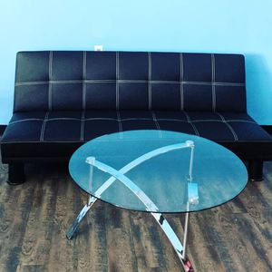 Futon Twin Bed/Glass Table/Red Leather Couch for Sale in Monroe, NC