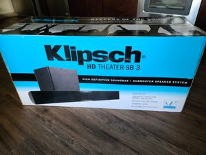 Klipsch HD THEATER SB 3 SOUND BAR WITH WIRELESS SUBWOOFER for Sale in Houston, TX