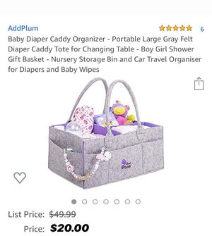 Baby Diaper Caddy Organizer - Portable Large Gray Felt Diaper Caddy Tote for Changing Table - Boy Girl Shower Gift Basket - Nursery Storage Bin and C for Sale in North Bay Village, FL