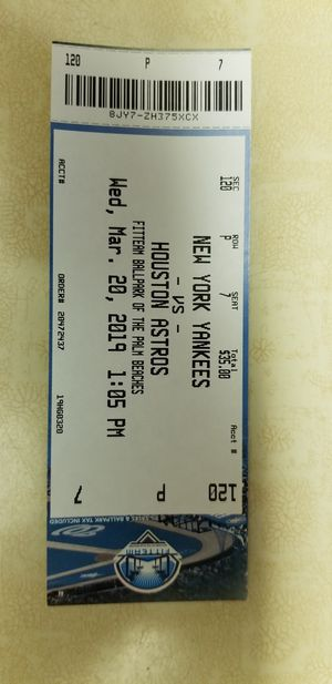 New York Yankees ticket playing in West Palm Beach for Sale in West Palm Beach, FL