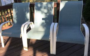 Six aluminum stackable patio chairs for Sale in Toms River, NJ
