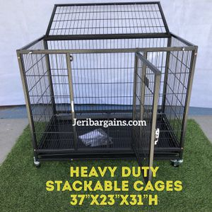 """New Heavy Duty 37"""" Collapsible Stackable Dog Cage Kennel Rolling Crate Raised Floor for Sale in Corona, CA"""
