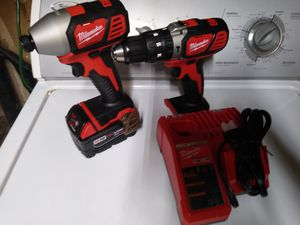 Milwaukee Drill, Impact Driver, battery and charger. $150 today only.. for Sale in Stockton, CA