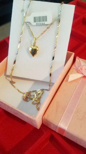 14k gold women's chain measures 20 inches long ( Oro de 14k tengo diferentes diseños 💗💗💗💗) for Sale in Manassas Park, VA