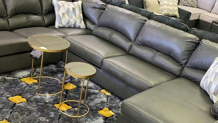 💥💥Grey Leather Aberton By Benchraft Livingroom sectional oversized couch 🛋 &No credit check 39 down for Sale in Houston,  TX
