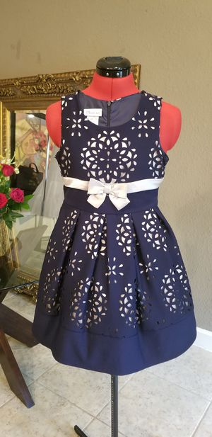 Bonnie Jean girls dress navy blue and gold for wedding for Sale in Austin, TX