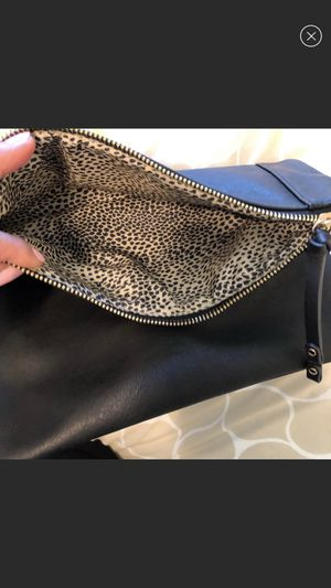 Faux black leather clutch for Sale in Springfield, VA