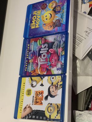 Movie Bundle Emoji Movie Despicable Me 3 Trolls for Sale in San Bernardino, CA