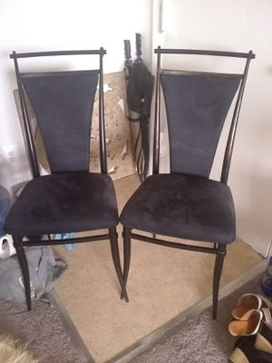 2 metal chairs velvet seats and back for Sale in Alexandria, VA