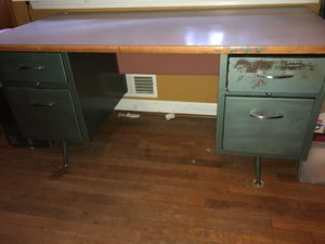 Vintage metal teacher school desk for Sale in Atlanta, GA