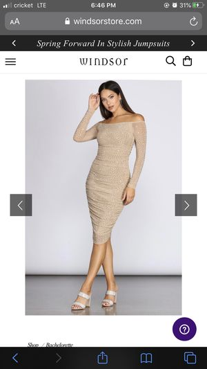 Rhinestone beige formal long sleeve Windsor dress for Sale in Phoenix, AZ