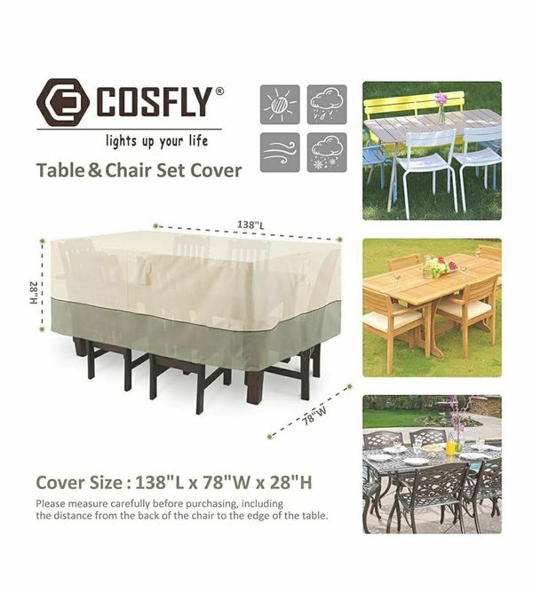 Outdoor Furniture Covers for Table and Chairs, Patio Table Set Cover Durable and Waterproof - Large Size 138 x 78 x 28 inches (L x W x H)