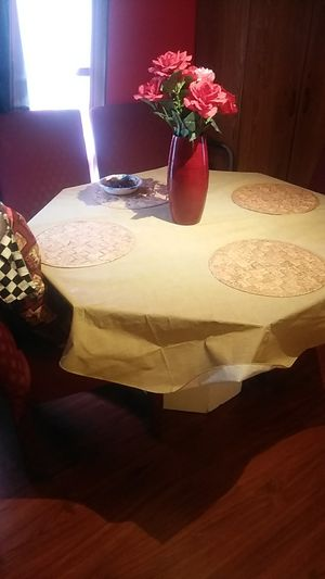 8 sided Octagon glass dining room table with 4 burgandy cloth high back chairs. 4feet wide by p29 inches in h8. Asking $100.00. {contact info removed} for Sale in Grape Creek, TX