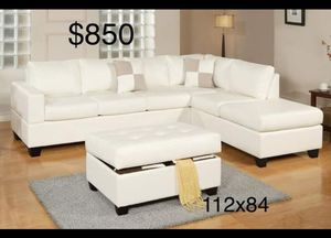 New White Leather Sectional Couch for Sale in Los Angeles, CA