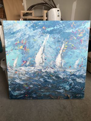 """Wall Art - Abstract Boat Race - 32""""x32"""" for Sale in New Hill, NC"""