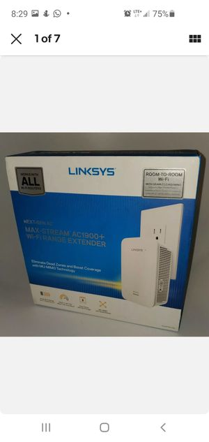 New Linksys - MAX-STREAM™ AC1900 Dual Band Repeater range extender with MU-MIMO - White for Sale in Vista, CA