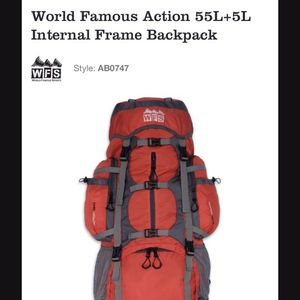 backpack from World Famous Sports featuring large 55L+5L for Sale in Federal Way, WA
