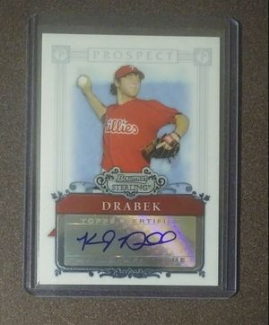 2006 Bowman Sterling Kyle Drabek Philadelphia Phillies Rookie Autograph BSP-KD Baseball Card Collectible Sports MLB for Sale in Salem, OH