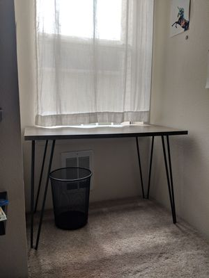 Hairpin style metal leg desk with weathered oak finish with trash can for Sale in Seattle, WA