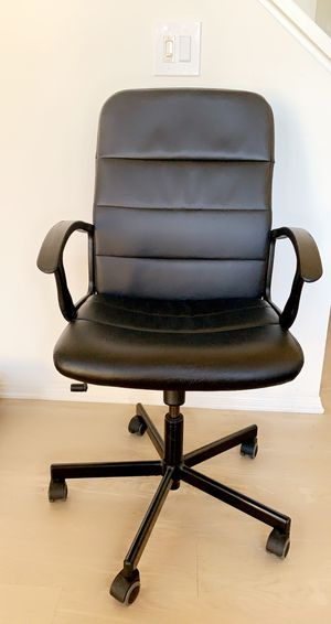 Black leather office chair, Super comfy ! Just there is some scratch from the back you can see it from the second photo. for Sale in Irvine, CA