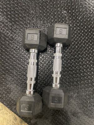Pair of 5lbs rubber hex dumbbell set for Sale in Whittier, CA