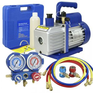 3,5CFM 1/4hp Air Vacuum Pump HVAC Refrigeration AC Manifold Gauge Set R134a Kit for Sale in Wildomar, CA