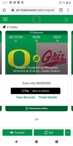 Ducks vs Montana tickets for Sale in Clackamas, OR
