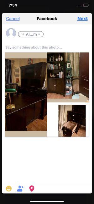 Sturdy cherry wood functional Office desk set for Sale in Wenatchee, WA