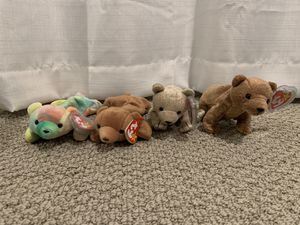 Ty beanie baby bears. Sammie, cubby, almond and pecan bears for Sale in Menifee, CA