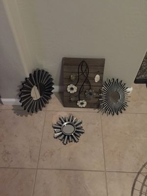Wooden flower wall hanging with mirrors for Sale in Phoenix, AZ