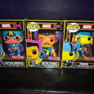 BRAND NEW MARVEL BLACK LIGHT FUNKO POPS THOR CAPTAIN AMERICA DOCTOR STRANGE for Sale in Warwick, RI