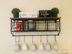 Wall Shelf With Metal Baskets & Hooks for Sale in Westbury, NY
