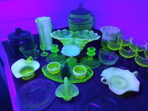 Fenton, Viking Uranium Glass Vaseline Glass for Sale in Sandy, OR