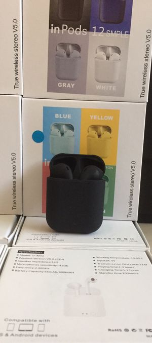i12 Bluetooth headphones/earbuds/headset/compatible with Apple or Android phones/many styles available/brand new for Sale in March Air Reserve Base, CA
