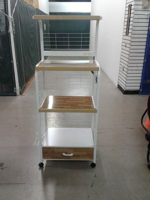 NEW, large microwave stand with storage draw. Available in white or black. for Sale in Miami Gardens, FL